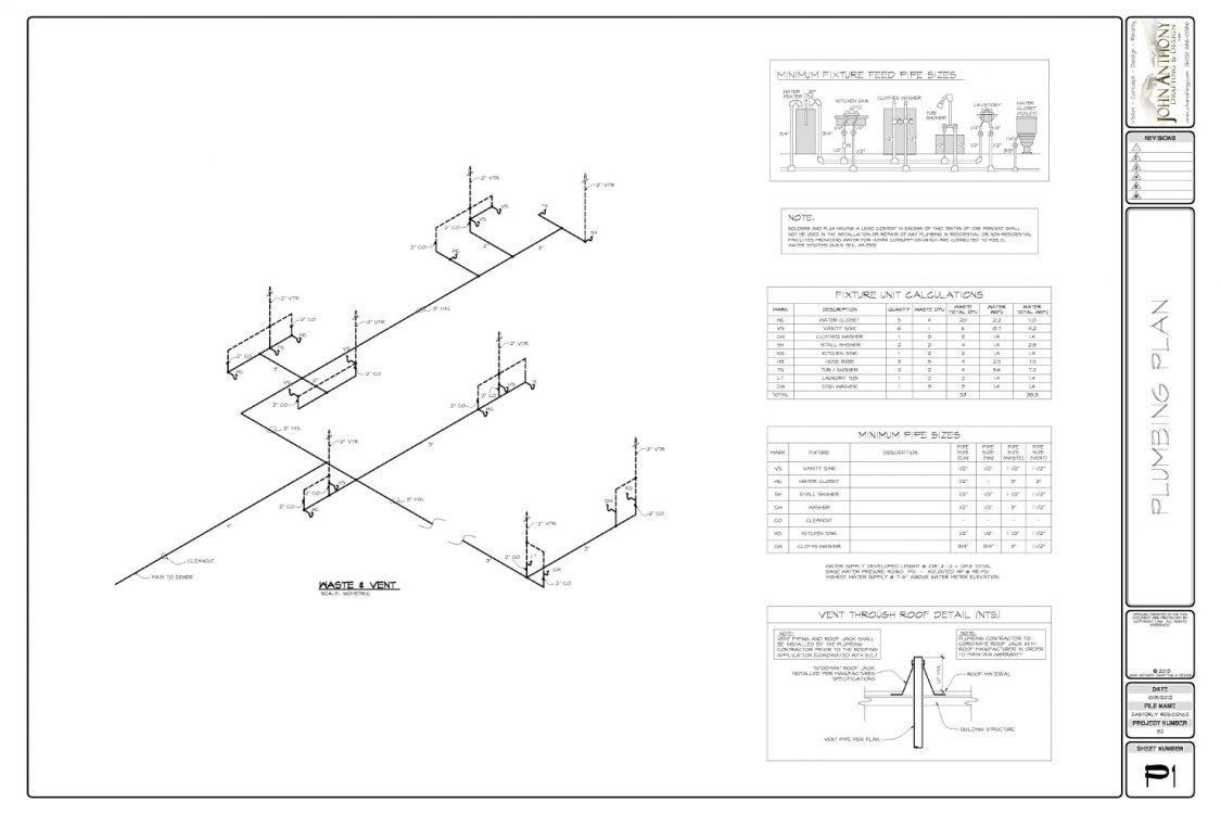 Construction plan set by john anthony drafting and design for Plumbing plans examples